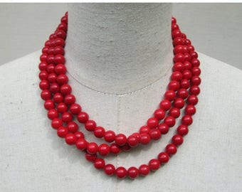 XMAS in JULY SALE Cherry Red  Scarlet Multi Strand Layered Beaded Necklace
