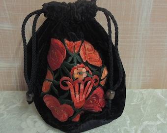 Black Velvet Drawstring Purse - Orange and Red Crewelwork  Design