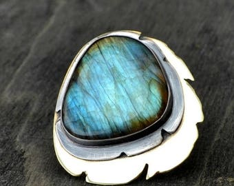 ON SALE Labradorite ring, metalwork ring, oxidized sterling silver and brass, rustic, size 8.25 - For the Love of Dragons