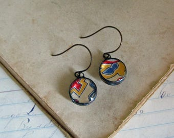 Geometric Fiber and Glass Soldered Earrings One of a Kind Jewelry