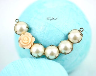 Crescent Faux Pearl Connector Link Pendant 41x8mm Light Peach Flower Light Topaz & Pearl Creme - 1