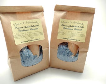 Caribbean Coconut Bubble Bath Salts, Bubble Bar, Bath Salts,Bubbling Salts, Fairy Dust, Epsom Salt, 12 ounces plus wooden scoop