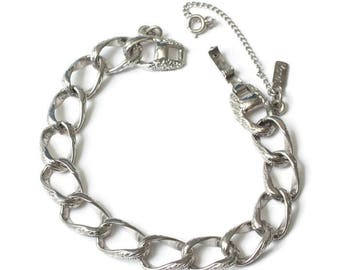 Monet Chunky Link Bracelet Silver Tone Vintage