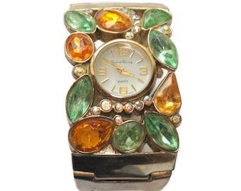 Bejeweled Rhinestone Watch Hinged Cuff Bangle French Laundry Quartz Vintage