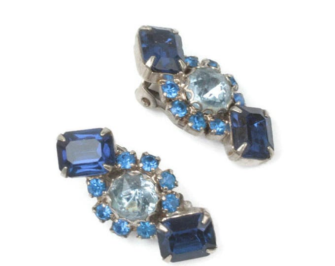 Blue Rhinestone Earrings Dark and Light Blue Clip Style Vintage