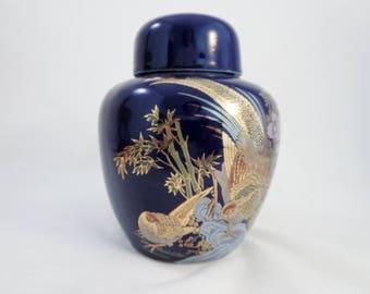 Vintage Porcelain Ginger Jar Urn -  Asian Cobalt Blue Bird Paradise Pheasant Ginger Jar With Gold  - Lidded Blue Ginger Jar