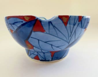 Vintage Asian Rice Tea Bowl - Cobalt Blue Porcelain Soup Noodle Bowl -  Blue & Red Japanese Wide Low footed Tea Chawan Summer Tea Bowl