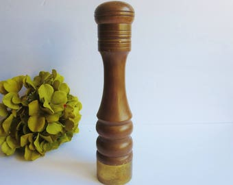 Vintage Tall Dark Wood Salt Shaker - Wooden Nasco Japan Shaker with Brass Base