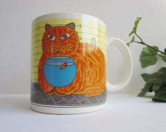 Vintage Cat Coffee Mug - Taylor & NG Kitty Katfish 1980s Mug - Cat With Gold Fish Coffee Mug  Made in Japan