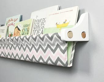 Kids Forward Facing Bookshelf - Book Sling and Wooden Brackets - Pink Gray and White Chevron Wall Organizer - Choose your size