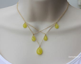 Yellow Quartz Gold Necklace, for Summer Outfit, Best of Summer, for Wedding Party, Bridal Shop, Birthday gift for Wife, for Sister
