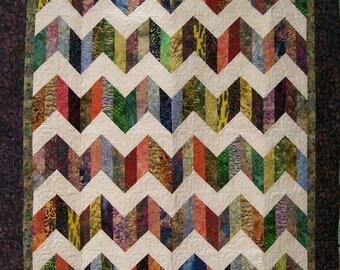 Chevrons in Batik Quilt