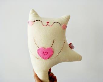 Stuffed cat doll, stuffed cat, plush cat, stuffed animal, cute stuffed toy, doll cat, gift for daughter, cute plushie, cute cat,toddler gift