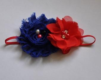 Patriotic Headband Red and Blue Headband Infant Girls Headband Toddler Headband Red White and Blue Headband 4th of July Headband American