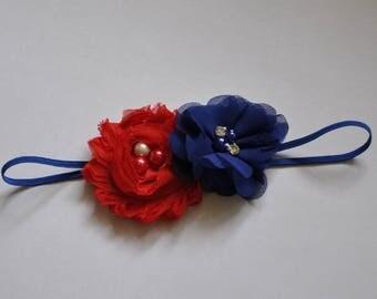 Fourth of July Patriotic Headband any Headband Infant Girls Headband Toddler Headband Red White and Blue Headband 4th of July Headband