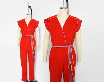 Vintage 80s Terry Cloth JUMPSUIT / 1980s Bright Red V Neck Belted Romper Playsuit