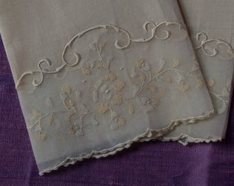 Two Delicately Embroidered Hand Towels  Vintage Madeira Label