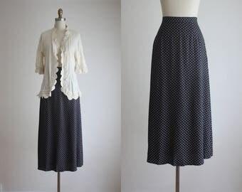 navy dot maxi skirt