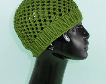 40% OFF SALE Instant Digital File pdf download knitting pattern- Simple Chunky Lacey  Skullcap Hat pdf download knitting pattern
