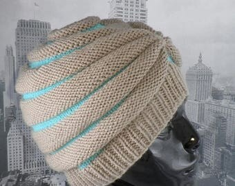 40% OFF SALE madmonkeyknits - Stripe Beehive Turban hat knitting pattern by madmonkeyknits  - Instant Digital File pdf download knitting pat