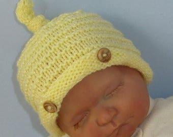 40% OFF SALE Knitting pattern digital pdf download- Baby Roll Brim Stripey Topknot Beanie pdf download knitting pattern
