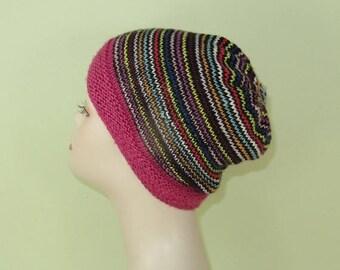 40% OFF SALE Instant Digital File knitting pattern - Himalaya Stripe Beanie pdf download circular knitting pattern.