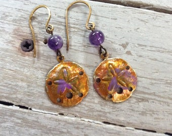 Earrings Brass Sandollar And Amethyst Dangles