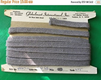 Christmas Sale Vintage 1970s Metallic Silver Sewing Trim On Card Elastic Globalmart