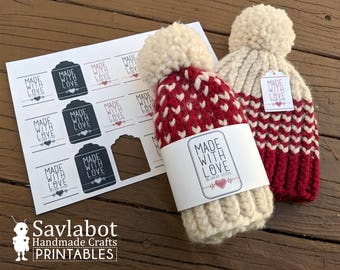 knitting tags, knitting tag labels, crochet tags, crochet tags labels, made with love label, made with love tag