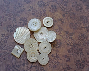 Antique Carved Mother Of Pearl Buttons