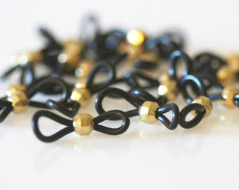 Beaded Eyeglass Loops In Lots of 10, 25 or 50. Bright Metallic Gold or Silver