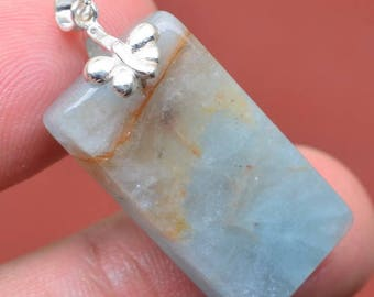 Sterling Silver and Natural Aquamarine Pendant Necklace