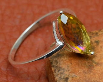 Sterling Silver Marquise Cut Yellow Topaz Gemstone Ring Size 10