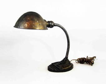 Vintage Art Deco Gooseneck Desk Lamp with Cast Iron Base. Circa 1930's.
