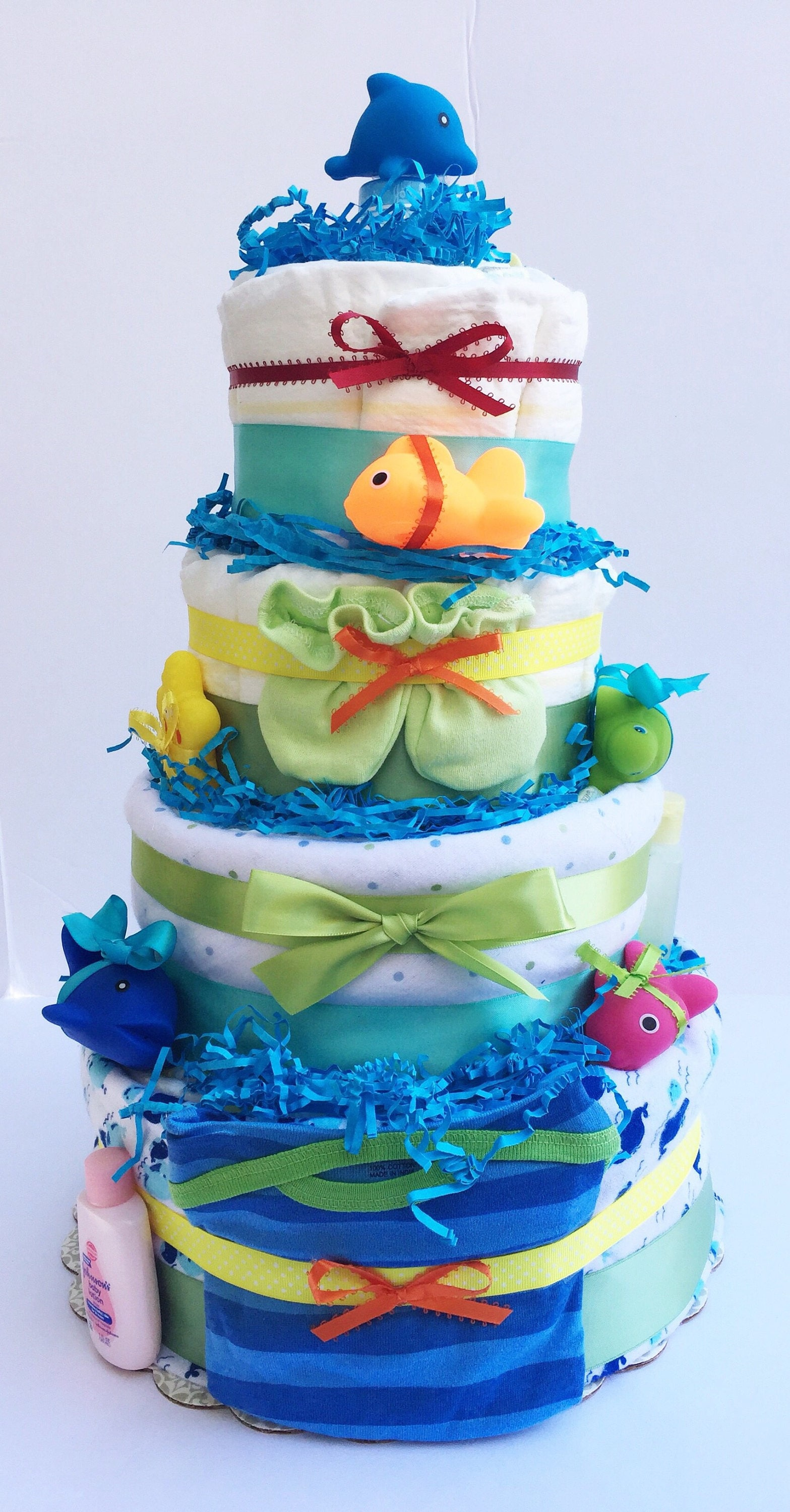 Diaper Cake under sea theme Ocean Theme Baby Shower 4 Layer