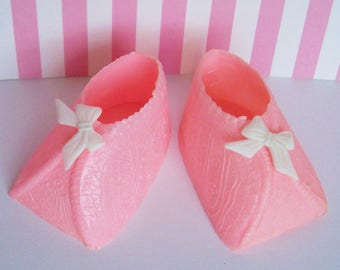 "Two Baby Shoe Cake Topper- Choose your color, pink or blue 1 1/4""h x 2 1/2"" long"