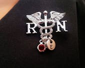 RN Registered Nurse Medical Caduceus Handstamped Personalized Initial Letter Birthstone Graduation Gift Brooch Pin