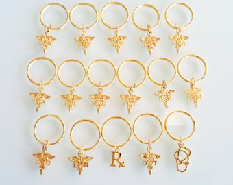 Medical Assistant Doctor Nurse Practitioner bsn-da-pt-np-ma-md-do-dnp-cma-pa-pta-dpt-RN Gold plated Graduation Gift Key Chain Key Ring