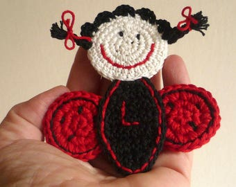 Crochet Ladybug Brooch - Personalized Pin - Boho Brooch - Ladybug Pin - Ladybug Jewelry - Gift for Girl - Gift under 20 - Everyday Gift