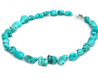 Chunky Turquoise STATEMENT Necklace Raw Nugget Green Blue Southwest Navajo Jewelry Rustic Country Chic by Mei Faith