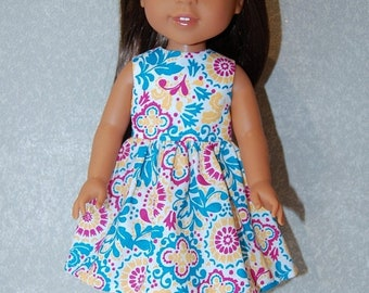 """Spring Sale Dress for 14"""" Wellie Wishers or Melissa & Doug Doll Clothes turquoise-pink tkct1135 READY TO SHIP"""