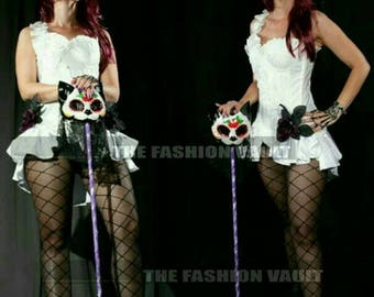 Shoulder Collar Shrug Wrap and Bustle Skirt Cosplay Manga Lolita Ringmaster Burlesque Showgirl dance costume