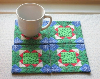 vintage fabric country christmas squares hand quilted set of mug rugs coasters