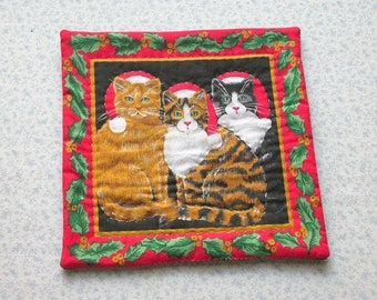 christmas cats hand quilted table mat candle mat christmas decoration