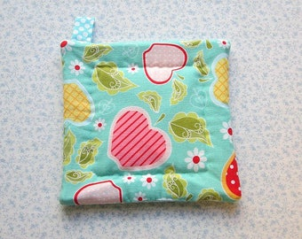 blue apple and fruit hand quilted insulated potholder