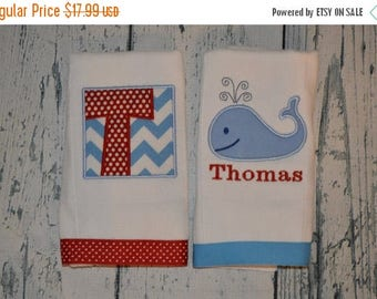 ON SALE Personalized Whale Burp cloth Set of 2  Burpies  Monogrammed
