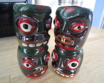 Anthropomorphic Native Totem Pole Souvenir Salt and Pepper Shakers