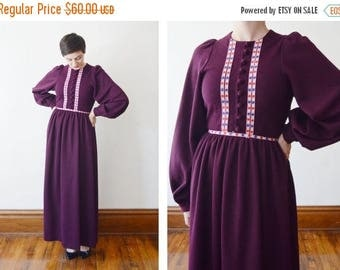 Summer Sale - 1970s Burgundy Knit Maxi Dress with Bishop Sleeves - S