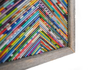 COLORFUL chevron framed art- made from recycled magazines, classic, modern, detail, handmade, frame, rustic, bright colors,trendy,home decor