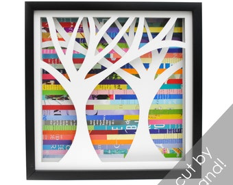 LARGE symmetrical tree- shadowbox made from recycled magazines, handcut, colorful, nature, trees, forest, paper cut, color, black fram